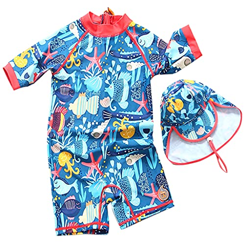 Surgoal Kinder Badeanzug Jungen UV-Schutz Neoprenanzug Sonnenschutz Badebekleidung Surfen Taucheranzug Rash Guard mit Sonnenhut