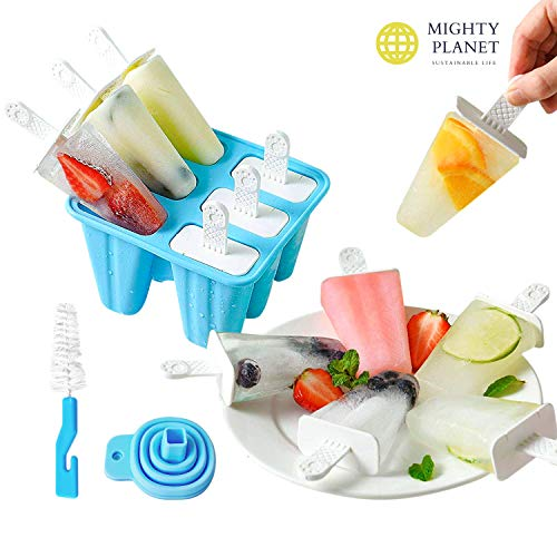 Mighty Planet Silicone Popsicle Ice Pop Molds 6 Pieces BPA Free Food Graded Reusable - Ice Cream Maker holder tray with Funnel and Cleaning Brush for Family Kids Baby