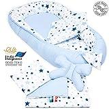 Juego de 5 piezas PALULLI, juego de cuna de alta calidad, de 90 x 50, extraíble, con manta agradable, almohada, para bebés, de algodón 100 % Öko Tex azul MilkyWay.