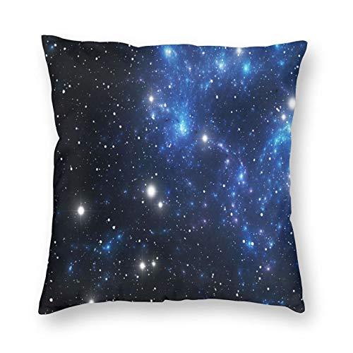 ETHAICO - Funda de cojín para cojín de constelación con diseño de nebulosa y estrellas en forma de cúmulo de astronomía con temática de Vía Láctea, decorativa cuadrada, 18 x 18, color azul y negro