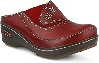 L'ARTISTE Women's Chino Clog | Hand Painted Leather | Colors Blue, Natural, Black, Red and Camel