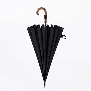 HKXR Parachase Big Umbrella Wooden Windproof 16 Ribs Business Japanese Long Handle Umbrella Rain Women Men 120cm Golf Clear Umbrella (Color : Black)