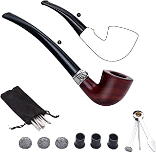 Free Boy Tabacco Pipes,Wooden Smoking Pipe Set, Equiped with Replacement Long Stem, 3-in-1 Pipe Scraper, Pipe Cleaners, Pipe Metal Balls and Pipe Bits
