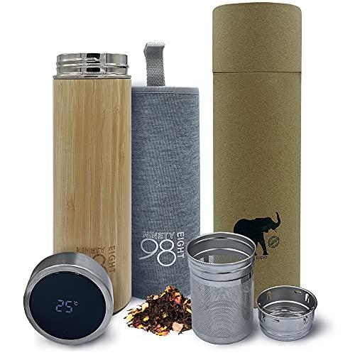 Termo Digital Inteligente de Bambu Natural 500ml para Cafe, Leche, Agua. Botella termica con Funda para liquidos para Llevar …