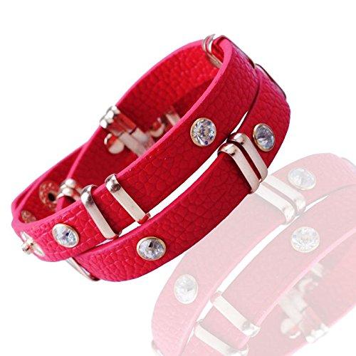 Gemini Armband (rot), Doppel Lederarmband, edle Nieten mit Glitzersteinen, hochwertiges Leder, Druckknopf Verschluss, Luxus Style für Boys, Girls, Herren, Damen, Unisex, 17,8 - 19,1 cm (Länge)