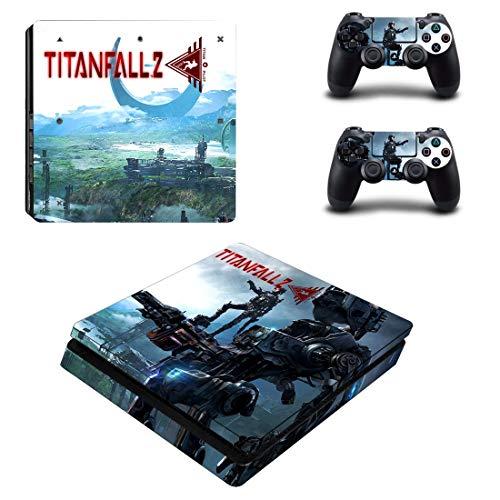 WANGPENG Titanfall Style PS4 Slim Skin Sticker für Playstation 4 Slim Konsole & 2 Controller Aufkleber Vinyl Schutzfolie