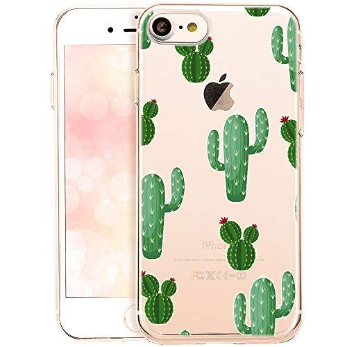 OOH!COLOR Handyhülle kompatibel mit iPhone SE 2020, iPhone 7 iPhone 8 Hülle Silikon transparent mit Motiv Slim dünn Bumper Schutzhülle Case Kakteen mit Blumen