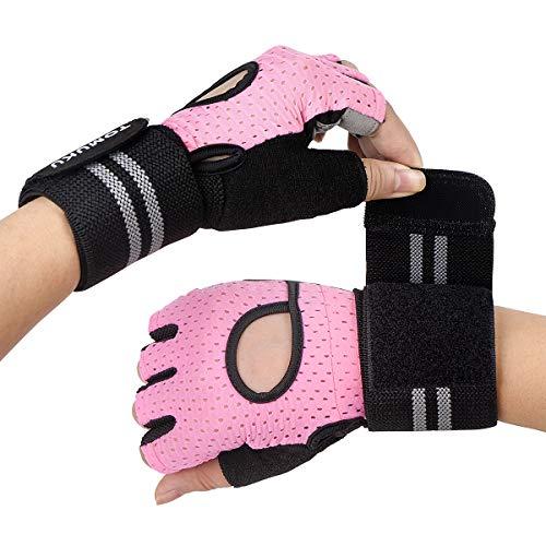 Guantes de gimnasio, guantes entrenamiento con soporte completo para la muñeca, protección de la palma, Guantes deportivos transpirables, ideales para levantamiento de pesas, flexiones (Rosa, S)