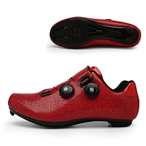 WYUKN Zapatilla de Ciclismo Profesional Hombre Mujer Zapatos de Ciclismo de Antideslizantes SPD/SPD-SL Lock System para Bicicleta de Montaña/Carretera,Red-46EU