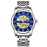 JTTM Relojes, Relojes Hombre Mecánico Automático Estilo Clásico Impermeable Números Esfera con Correa De Acero Inoxidable,Silver Blue