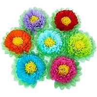 Pompones de papel, flores de papel, color arcoíris, para decoración de fiesta, juego de 7 unidades
