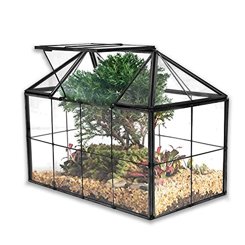 Banord Black Glass Terrarium, Geometric House Shape Succulent Planter with Lid Tabletop Container for Fern Moss Air Plants