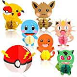 Ticiaga Pikachu Party Favors, 7pcs Cartoon Pikachu Honeycomb Centerpieces, Table Topper for Birthday Party...