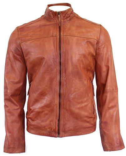 RICANO Copper, Herren Lederjacke (Slim Fit) mit Perforierungen aus echtem Lamm Nappa Leder in Cognac Braun (Cognac Braun, XL)