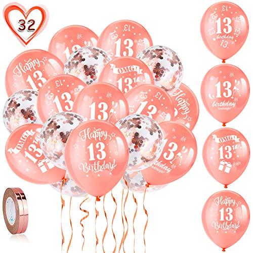 HOWAF 13. Geburtstag Luftballons, 30 Stück Rose Gold 13. Geburtstags Deko Ballons Latex Konfetti Luftballons & 2 Bänder für Mädchen 13. Geburtstag Party Dekorationen - 12 Zoll (Alter 13)