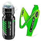 Raceone - Kit Race Duo X5 Gel (2 PCS): Porta Bidon X5 Gel + Bidon de Ciclismo XR1 Bici Carrera de Ruta/Bicicleta de Montaña MTB/Gravel Bike. 100% Made IN Italy