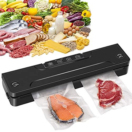 Vakuumiergerät, Cinnyc Vakuumierer sous vide, Folienschweißgerät für Unter Vakuum Automatische LebensmittelVersiegelung für Trockene und Feuchte Lebensmittel H313T (10pcs Vakuumierbeutel)
