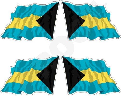 Bahamas Drapeau du Commonwealth bahamienne agitant 5,1 cm (50 mm) en vinyle Bumper Stickers, Stickers x4