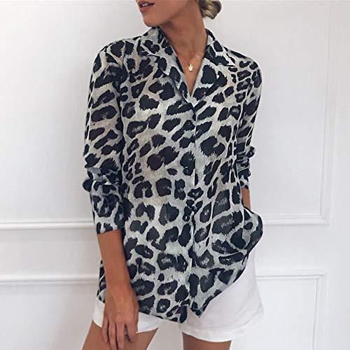 QLING Vrouwen Luipaard Print Chiffon Losse Blouse Lange Mouw V-hals Chiffon Top Casual Button T-Shirt (M,Grey)