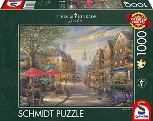 Schmidt Spiele- Thomas Kinkade - Puzzle (1000 Piezas), diseño de café en Múnich (59675)