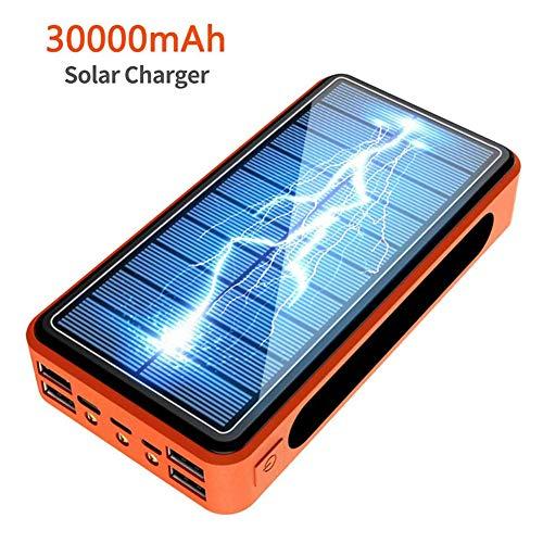 Beirich 30000mAh Cargador Solar, Solar Power Bank de Carga rápida teléfono portátil Cargador del Respaldo Paquete de baterías externas con Salida USB 2 para Android y Más,Naranja