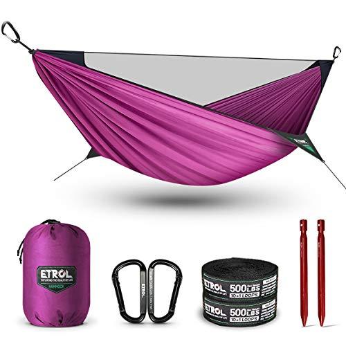 ETROL - Hamaca con mosquitera 2 en 1, ligera y portátil, para árbol, soporta hasta 220 kg, hamaca móvil para camping, exterior, viajes, senderismo, mochilero