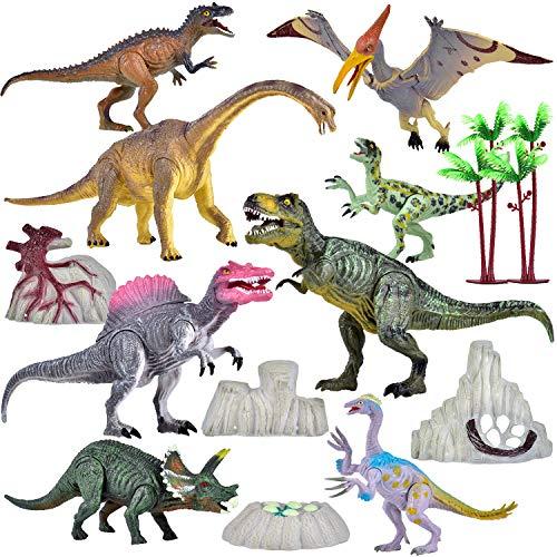 "RASSE 14 Piece Dinosaur Toys, 7""-11"" Movable Educational Realistic Dinosaur Figures Set Including T-Rex, Pterosaurs - Dinosaur Play Set for Kids, Children, Toddlers & Dinosaur Lovers"