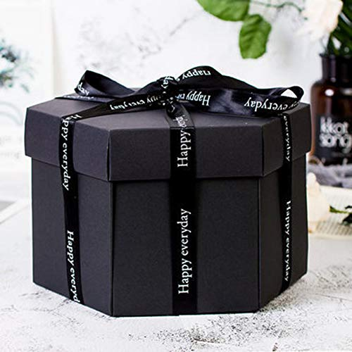 GoodFaith Surprise Explosion Box DIY Álbum de fotos, caja de regalo, álbum de fotos hecho a mano, scrapbooking para San Valentín, bodas, cumpleaños, sorpresa (negro) 2