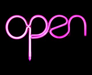 Open Sign Pink USB Powered LED Sign 15.5x8.4 inch,Long Cord 11.5 FT Girls LED Neon Open Sign Light for Pub,Bar,Beer,Café,Ice Cream Truck,Spa,Beauty or Hair Salon,Florist,Massage,Tattoo Store(OP)