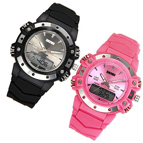 JewelryWe 2pcs Relojes para Niños Niñas Analógico Reloj Deportivo Digital para Aire Libre, Reloj Infantil De Colores Negro Rosa Pareja, 5ATM A Prueba de Agua Buen Regalo 2017