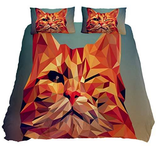 N\O Animal Art Polygon Cat Bedding Sets Breathable Bedclothes 3 Pieces Bedding Duvet Cover Sets (1 Duvet Cover + 2 Pillowcases) Room Decor Ultra Soft Microfiber(NO Comforter Included)