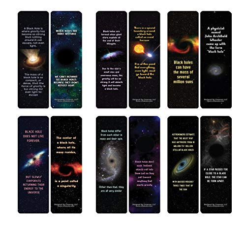 Creanoso Black Holes Facts and Informations Bookmarks (30-Pack) - Classroom Reward Incentives for Students and Children - Stocking Stuffers Party Favors & Giveaways for Teens & Adults