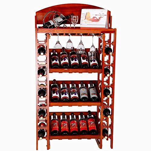 WSY Botellero Vertical de Madera, Soporte de exhibición Botellero Independiente Botellero de Vidrio invertido 35 Botellas sin agitar 73 x 35 x 130 cm (Color: Color Madera)