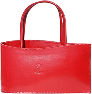 FLORENCE LEATHER MARKET Borsa Rossa a mano in pelle donna 27x7x13 cm - Nano - Made in Italy