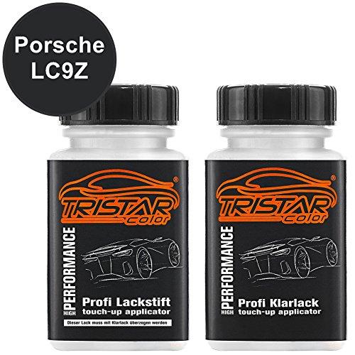 TRISTARcolor Autolack Lackstift Set für Porsche LC9Z Basaltschwarz Metallic/Basalt Black Metallic Basislack Klarlack je 50ml
