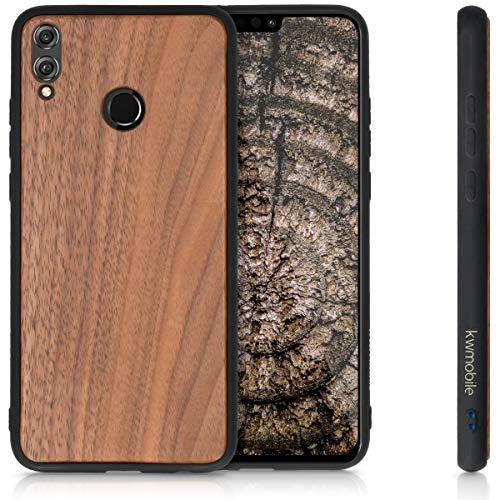 kwmobile Holz Schutzhülle für Huawei Honor 8X - Hardcase Hülle mit TPU Bumper Walnussholz in Dunkelbraun - Handy Case Cover - 5