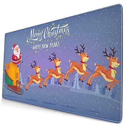 Netter Cartoon Claus Reiten Rentier Schlitten Frohe Weihnachten Mauspad Mousepad Mausmatte Rutschfester Gummi Langlebig für Laptop Computer Personalisiert