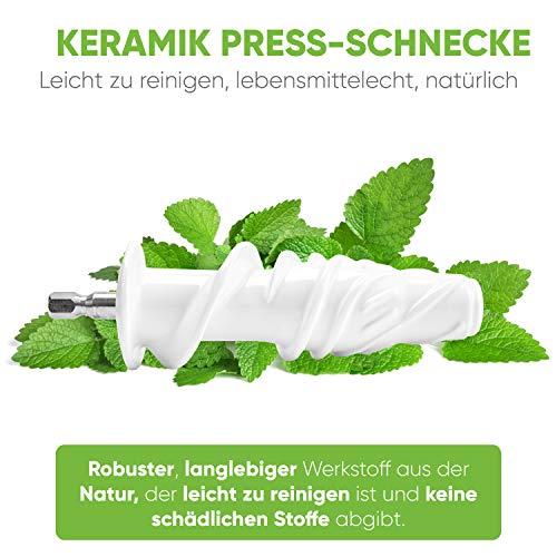 Foto von GREEN-PRESS KERAMIK Horizontaler Slow Juicer mit Keramik Pressschnecke BPA-frei | Sellerie, Selleriesaft, Weizengras, Kräuter Grüne Detox Säfte | Allround Entsafter elektrisch