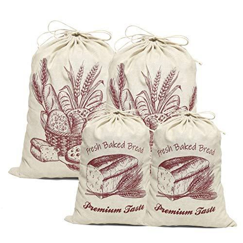 COYMOS Linen Bread Bags-4 Pack Pure Natural Unbleached Bread Bags, Large and Extra Large Bread Loaf Bags for Artisan Bread Storage, Flax Bread Bags, Reusable Drawstring Bags for Homemade Bread