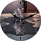 MEISTAR Animal Modern Style Wall Clock for Kids Room,Children Room and Kitchen,6 Inch Wooden Creative Cute Cat and Tiger Design Study Room Wall Clock