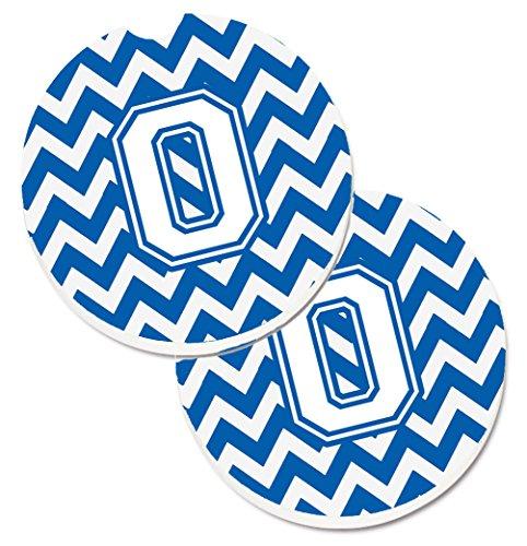 Caroline tesoros de la letra O Chevron Azul y blanco juego de 2cup Holder coche posavasos cj1045-ocarc, 2,56, multicolor