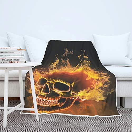 Totenkopf Feuer Wohndecken Kuscheldecken Weich Warm Sofadecke Couchdecke Schlafdecke Mikrofaserdecke Tagesdecke Flauschige Decke für Sofa Couch Bett