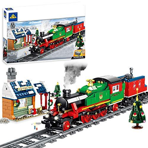 FADY Technik City Personenzug, Dampflokomotive mit Motor, Beleuchtungsset & Schienen, Bausteine Zug Kompatibel mit Lego - 913 Teile