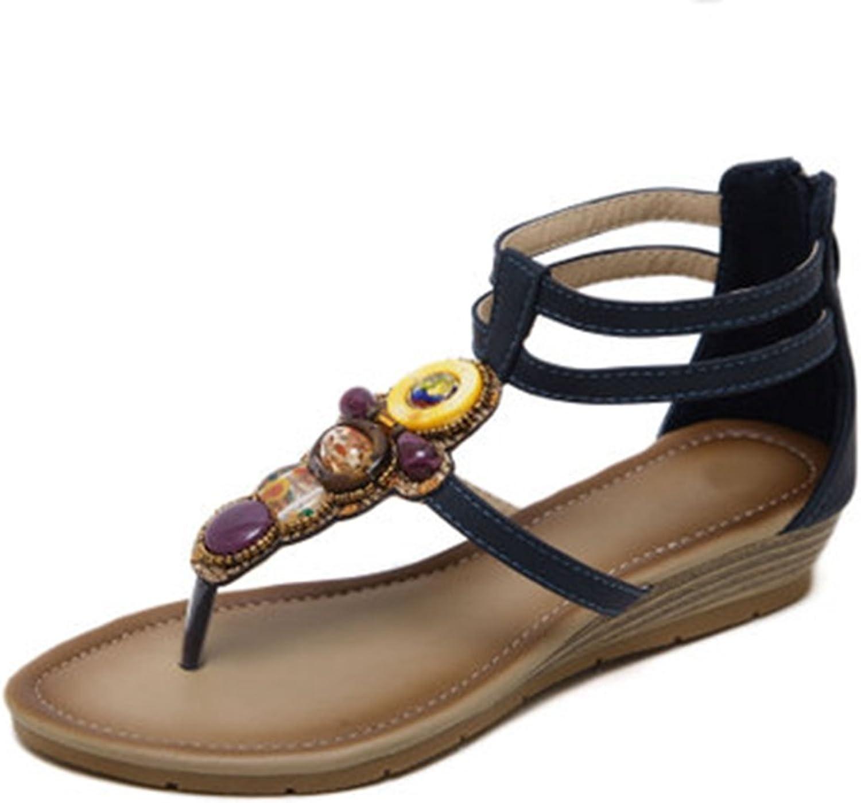 GIY Women's Bohemian Wedges Sandals with Bling Summer Beach Platform Comfort Ankle Strap Zipper Flip Flops