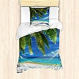 ABAKUHAUS Playa Funda Nórdica, Arena Palma de Coco Mar, Decorativo, 2 Piezas con 1 Funda de Almohada, 135 x 200 cm, Crema Azul Verde