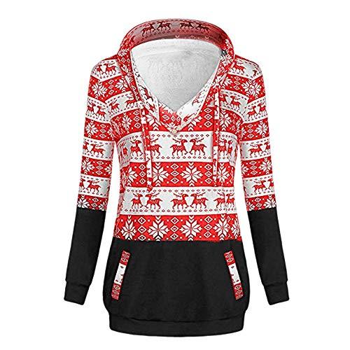 VEMOW Heißer Damen Frauen Pullover Weihnachtsdruck Mit Reißverschluss Lässige Tägliche Freizeit Im Freien Pullover Mit Kapuze Sweatshirt Tops Herbst Winter(X2-Rot, 36 DE/L CN)