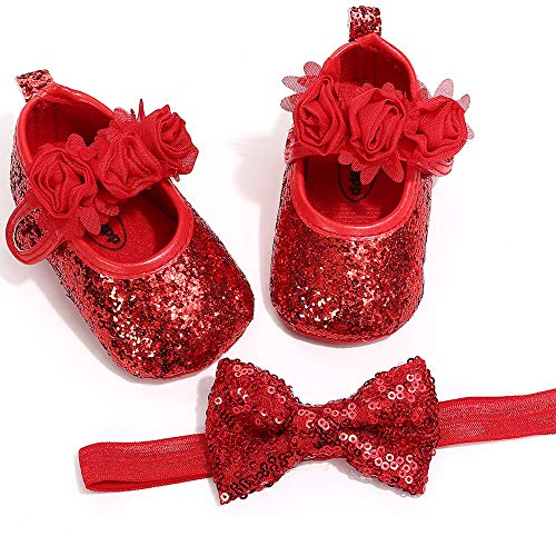 Baby Girls Princess Bowknot Soft Sole Cloth Crib Shoes Sneaker Red, 0-3 Months