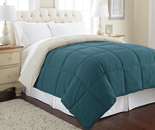Amrapur Overseas Down Alternative Microfiber Quilted Reversible Comforter/Duvet Insert Ultra Soft Hypoallergenic Bedding-Medium Warmth for All Seasons, King, Blue Coral/Oatmeal