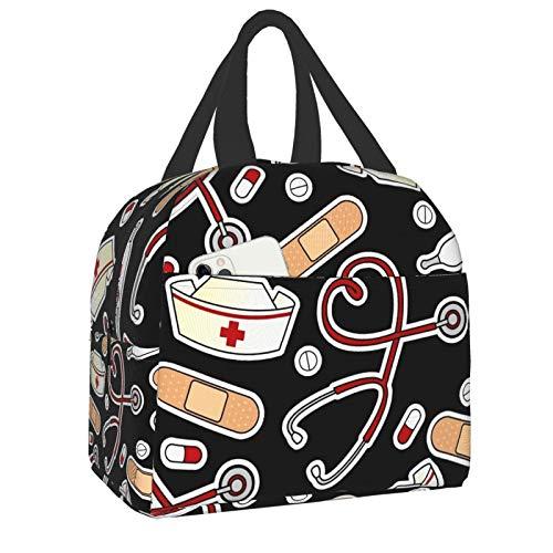 antkondnm Medical Thermometer Nurse Hat Insulated Lunch Bag for Women or Men,Lunch Holder Insulated Lunch Tote Bag,Student Thermal Bag and Lunch Cooler Box