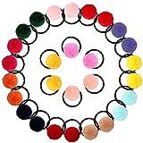 VEGCOO 28pcs Gomas de Pelo con Pompones, Cabello Banda Elástico Multicolores Accesorios para el Cabello para Bebé Niña (B)